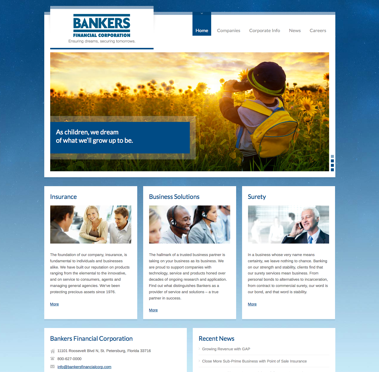 Bankers Financial Corporation Website Design